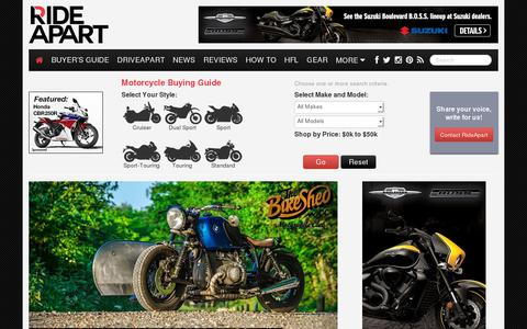 Screenshot of Home Page rideapart.com - RideApart - captured July 11, 2014