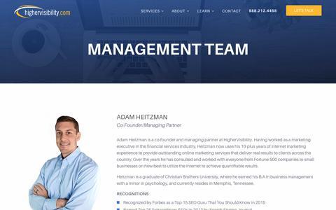 Screenshot of highervisibility.com - Management Team | HigherVisibility - captured Jan. 13, 2018