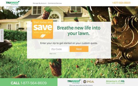 Screenshot of Landing Page trugreen.com - TruGreen. Live Life outside. - captured Dec. 29, 2016