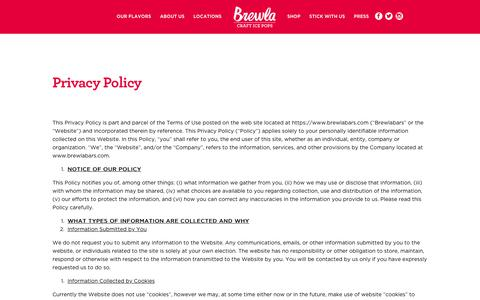 Screenshot of Privacy Page brewlabars.com - Privacy Policy | Brewla - captured Oct. 11, 2017