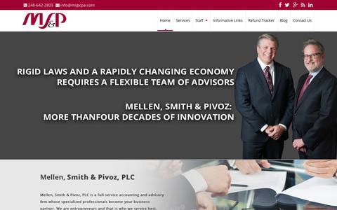 Screenshot of Home Page mspcpa.com - Mellen, Smith & Pivoz, PLC - captured Feb. 12, 2016