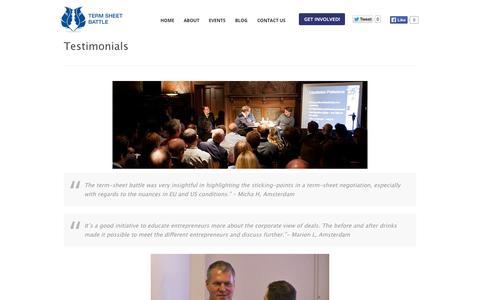 Screenshot of Testimonials Page termsheetbattle.com - TestimonialsTerm Sheet Battle | Term Sheet Battle - captured Oct. 26, 2014