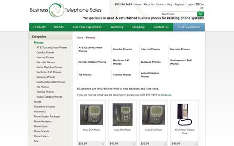 Screenshot of Products Page businesstelephone.com - Business Phones - Used and Refurbished - Business Telephone Sales. Business Telephone Sales - Used & Refurbished Small Telephone Systems - captured Jan. 15, 2016