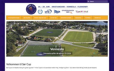 Screenshot of Home Page sorcup.no - Sør Cup | Fotballfestivalen på Sørlandet - captured March 1, 2016