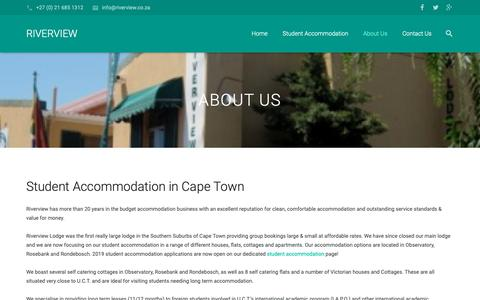 Screenshot of About Page riverview.co.za - Student Accommodation in Cape Town   Riverview - captured Nov. 15, 2018
