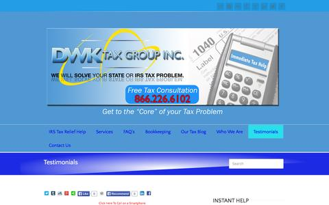 Screenshot of Testimonials Page dwktaxgroup.com - DWK Tax Group Tax Resolution Testimonials | Successful Tax Relief Help | DWK Tax - captured Oct. 5, 2014