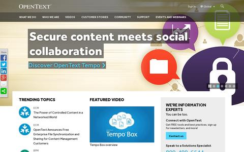Screenshot of Home Page opentext.com - The Leader in Enterprise Information Management | OpenText - captured July 12, 2014