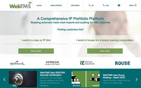 Screenshot of Home Page webtms.com - Home - Web TMS - captured Sept. 20, 2019