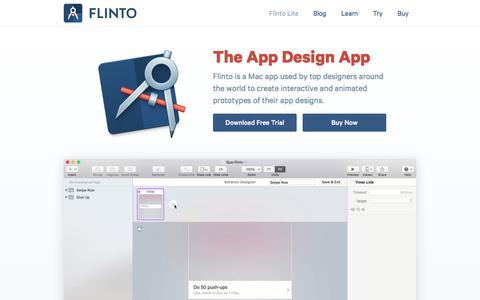 Screenshot of Home Page flinto.com - Flinto – The App Design App - captured Oct. 16, 2017