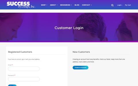 Screenshot of Login Page successbydesign.com - Customer Login - captured Oct. 18, 2018