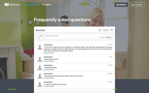 Screenshot of FAQ Page rentview.com - Rentview | Find Your Next Renters - captured Feb. 15, 2016