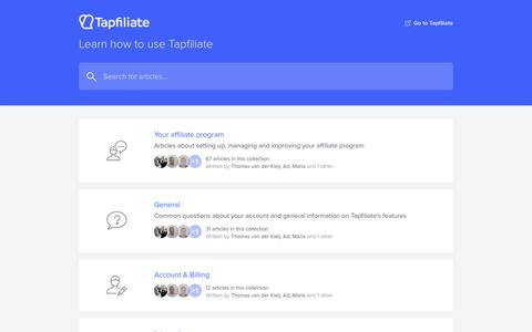 Screenshot of Support Page tapfiliate.com - Tapfiliate Help Center - captured July 1, 2019
