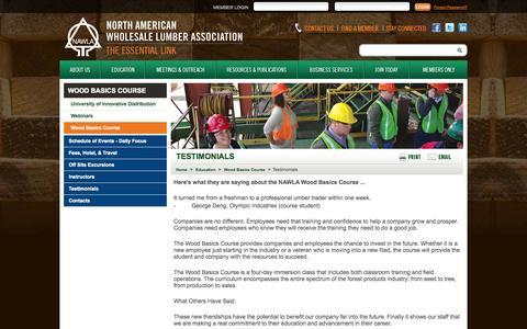 Screenshot of Testimonials Page nawla.org - Testimonials - Wood Basics Course | NAWLA - captured Oct. 26, 2014
