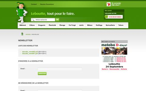 Screenshot of Press Page leboutte.be - Leboutte tout pour le faire : Nouvelles - captured Sept. 18, 2014