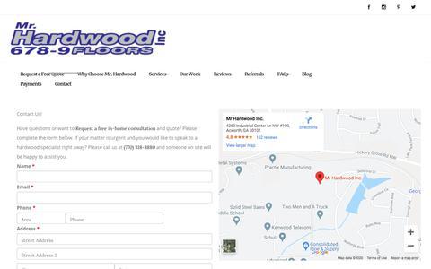 Screenshot of Contact Page mrhardwoodinc.com - Contact Us Today | Mr. Hardwood, Inc. | Free Estimates - captured Feb. 27, 2020