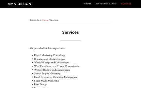 Screenshot of Services Page amndesign.com - Services - AMN Design - captured Nov. 19, 2016