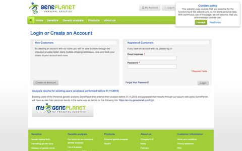 Screenshot of Login Page geneplanet.com - Customer Login  | Genetic Testing for Diseases, Medications, Nutrition and Sports - captured Sept. 29, 2014