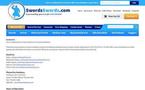 Screenshot of Contact Page swordsswords.com - Contact Us - captured Sept. 13, 2016