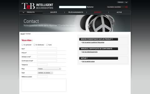 Screenshot of Contact Page Support Page t-nb.com - TnB - Intelligent Accessories - captured Oct. 27, 2014