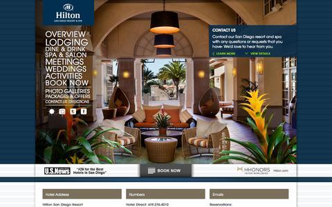 Screenshot of Contact Page sandiegohilton.com - Resort in San Diego | San Diego Resort and Spa | Hilton San Diego - captured Sept. 23, 2014