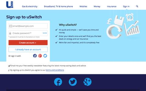 Screenshot of Signup Page uswitch.com - Sign up to uSwitch.com - captured Sept. 18, 2014