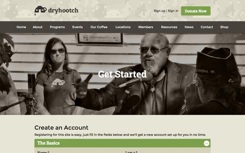Screenshot of Signup Page dryhootch.org - Create an Account | Dryhootch - captured Feb. 9, 2016