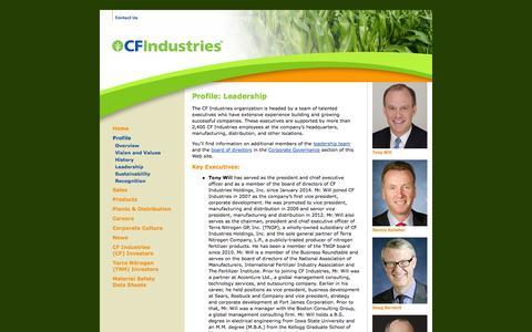 Screenshot of Team Page cfindustries.com - CF Industries Profile: Leadership - captured Sept. 26, 2014