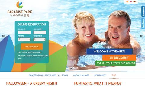 Screenshot of Blog hotelparadisepark.com - Paradise Park Fun LifeStyle Hotel - Blog - captured Nov. 13, 2016