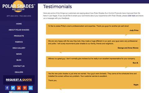 Screenshot of Testimonials Page polarshade.com - Testimonials - Polar Shades - captured Aug. 11, 2017