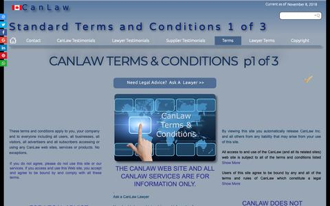 Screenshot of Terms Page canlaw.com - Contact us CanLaw binding terms and conditionsTestimonials - captured Nov. 8, 2018