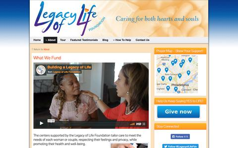Screenshot of Services Page legacyoflifefoundation.org - What We Fund – Legacy of Life Foundation - captured July 29, 2017
