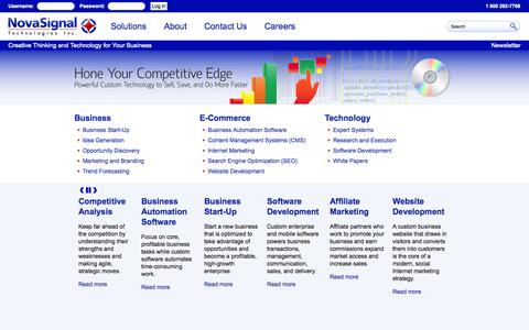 Screenshot of Home Page novasignal.com - NovaSignal Technologies Inc. | Creative Thinking and Technology for Your Business - captured Oct. 6, 2014