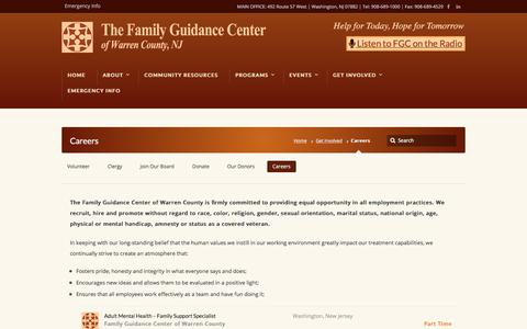 Screenshot of Jobs Page fgcwc.org - Family Guidance Center of Warren County - captured July 6, 2018