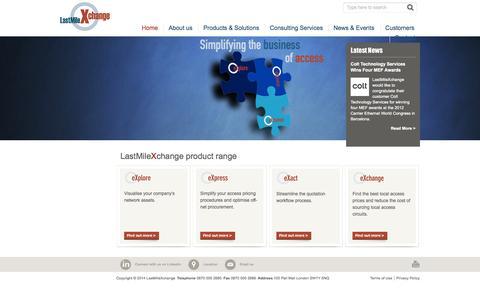 Screenshot of Home Page lastmilexchange.com - LastMileXchange product range - LastMileXchange - captured Oct. 2, 2014