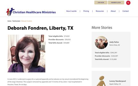 Screenshot of Testimonials Page chministries.org - Liberty, TX              | Christian Healthcare Ministries - captured May 16, 2019