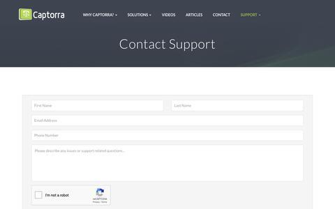 Screenshot of Support Page captorra.com - Contact Captorra Today. Let Us Help You Grow Your Practice. - captured Nov. 2, 2018