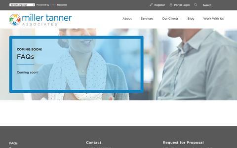 Screenshot of FAQ Page millertanner.com - FAQs - Miller Tanner Associates Miller Tanner Associates - captured Feb. 22, 2016