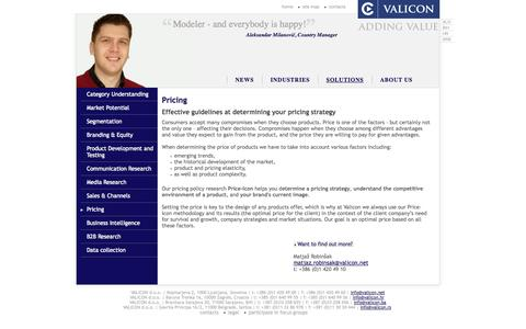 Screenshot of Pricing Page valicon.net - Pricing - Valicon - Marketing Consulting and Marketing Research - captured Oct. 27, 2014