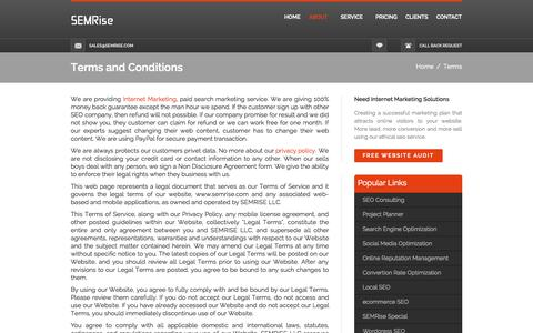 Screenshot of Terms Page semrise.com - Terms and Conditions - captured Sept. 30, 2014