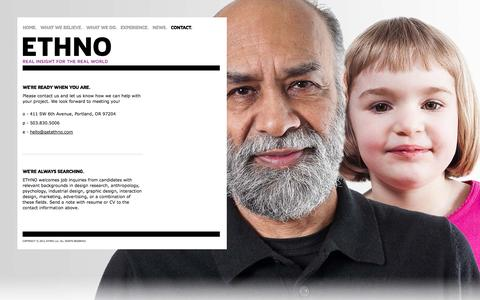 Screenshot of Contact Page getethno.com - ETHNO | Real insight for the real world - captured Oct. 1, 2014