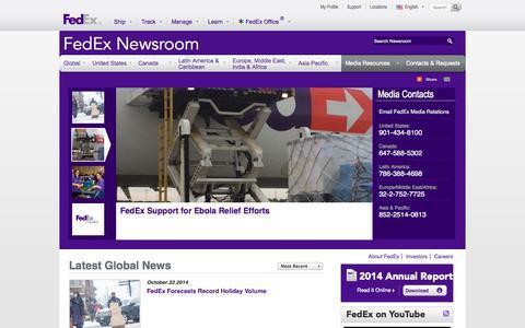 Screenshot of Press Page fedex.com - Latest Global News | FedEx Newsroom - captured Oct. 23, 2014