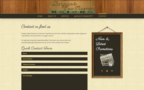 Screenshot of Contact Page langanstearooms.co.uk - Contact - Langans Tea Rooms - captured July 11, 2016