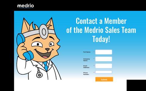 Screenshot of Landing Page medrio.com captured April 6, 2016