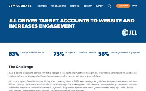 Screenshot of Case Studies Page demandbase.com - JLL Drives Target Accounts to Website and Increases Engagement | Account-Based Marketing – Demandbase - captured Nov. 6, 2019