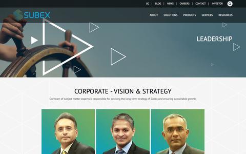 Screenshot of Team Page subex.com - Leadership - Subex Limited - captured Oct. 8, 2017