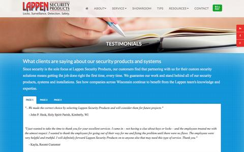 Screenshot of Testimonials Page lappensecurity.com - Security Systems Appleton | Security Company Wisconsin | Business Security Solutions - captured Jan. 26, 2016