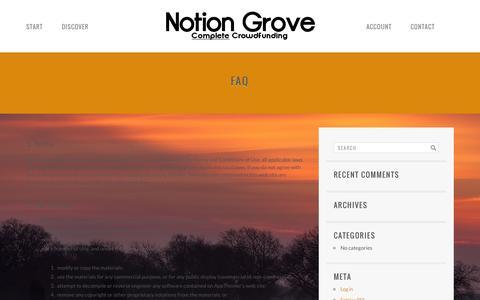Screenshot of FAQ Page notiongrove.com - FAQ | Notion Grove - captured Oct. 26, 2014
