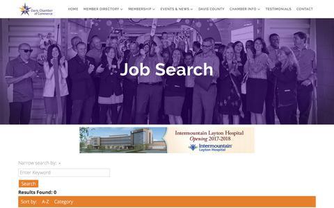 Screenshot of Jobs Page davischamberofcommerce.com - Job Search - captured Jan. 4, 2018