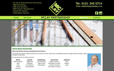 Screenshot of About Page mclaypartnership.co.uk - Mclay Partnership - M&E Co-ordination, Project Management, Estimating - captured Oct. 27, 2014