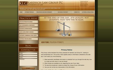 Screenshot of Privacy Page kardischlaw.com - Privacy Policy | Nassau Personal Injury Lawyer | Real Estate Attorney in Nassau County - captured Oct. 6, 2014